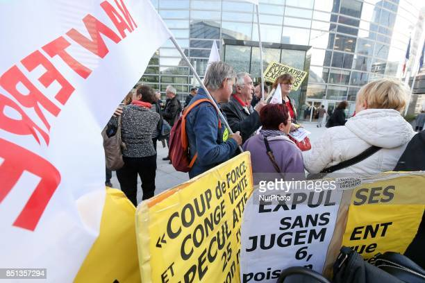 Demonstration against the reduction by 5 per month of the housing benefit in front of the Ministry of Territorial Cohesion in La Defense District...