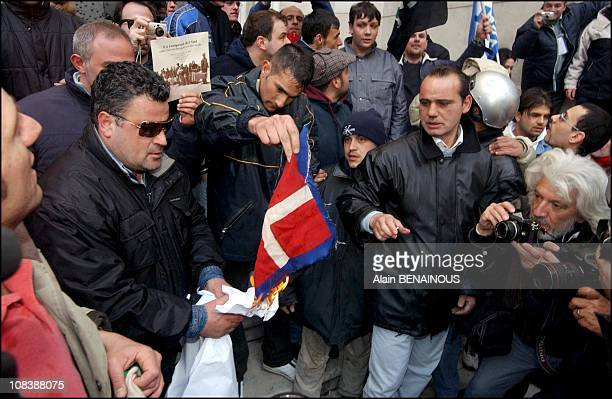 Demonstration against the Savoy royal family in front of the Naples's cathedral in Naples Italy on March 15 2003