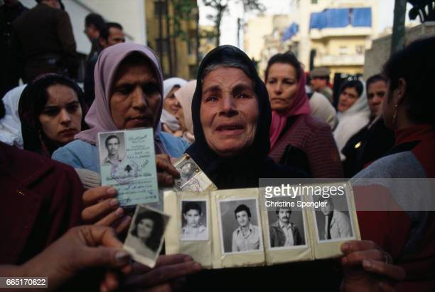 Demonstration against the war of Palestinian women who have lost children and husbands during the fighting in Beirut.