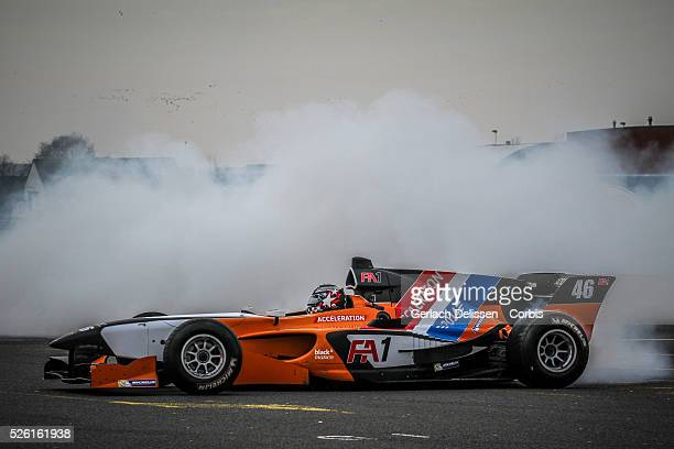 Demonstration and donut action as the FA1 race car burns some rubber at the Acceleration 2014 Presentation Theater Hangaar Valkenburg The Netherlands...