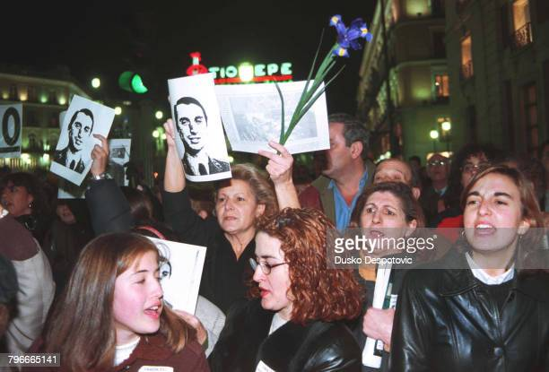Demonstration at Puerto del Sol square in protest of the murder of socialist leader FBuesa Blanco