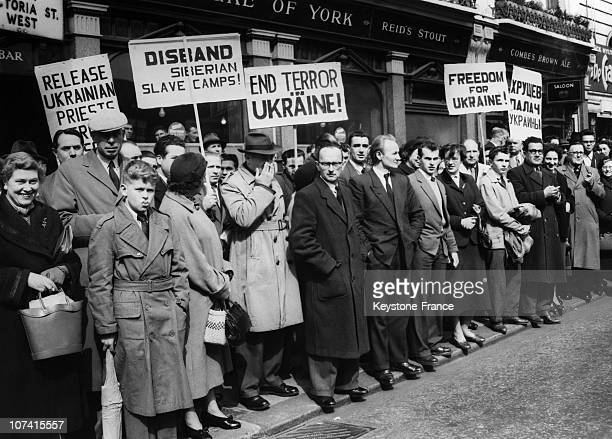 Demonstration At The Soviet Leaders Arrival For Ukraine In London On April 18Th 1956