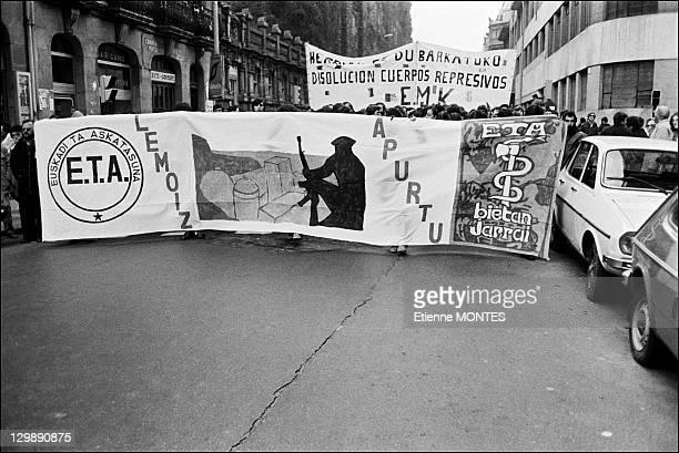 Demonstration begin after the funeral of Jose Arregui presumed member of ETA on February 16 1981 in San Sebastian Spain