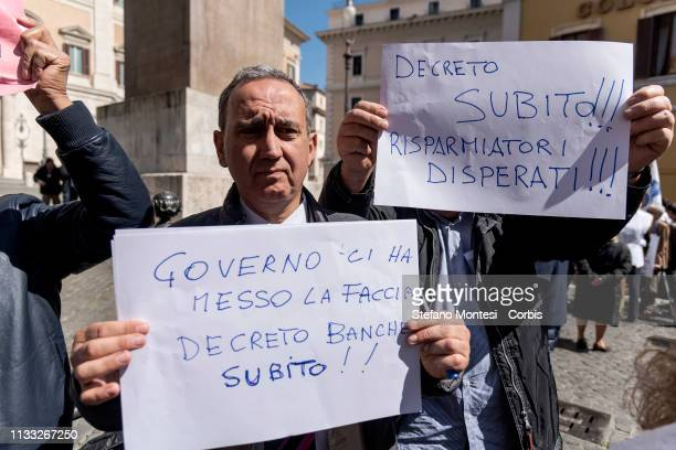 Demonstration by a delegation of victims of the banking instability of the banks of Veneto in front of the Parliament to ask for the implementation...