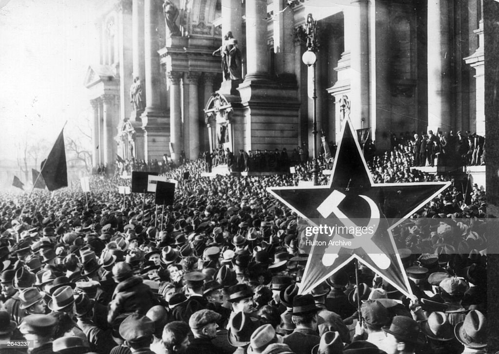 A demonstration by German communists during the Revolution following Germany's defeat in the First World War.