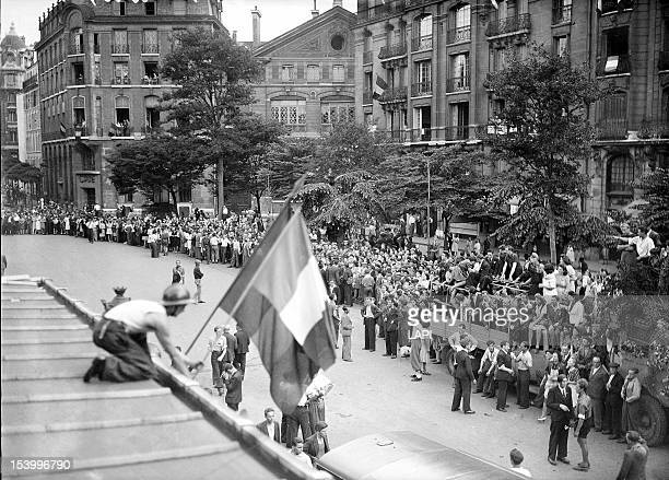 A demonstration by members of the FFI during the last days of the German occupation of World War II Paris 19th August 1944 They erect the French flag...