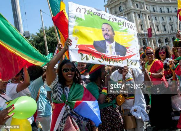 Demonstration by the Ethiopian community in Rome to celebrate the meeting today in Asmara after 20 years of hostility by the Eritrean president...