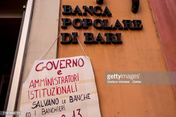 Demonstration by the families occupying the building in Via Bibulo in front of the headquarters of the Banca Popolare di Bari in the historic centre...