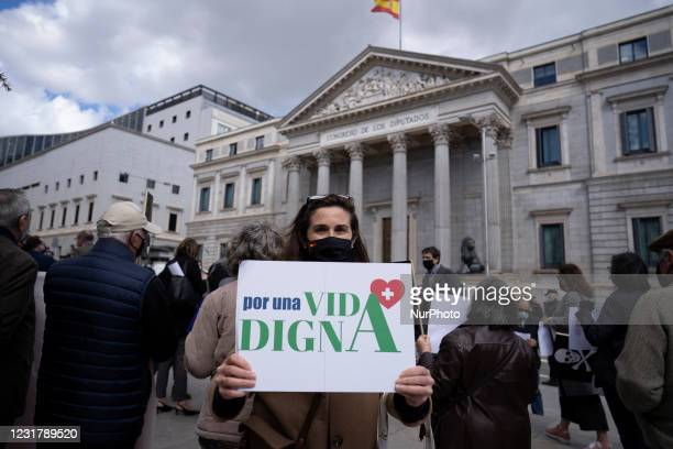 Demonstration called by the pro-life association 'Vividores' in front of the Congreso in Madrid, central Spain, against the approval of the...
