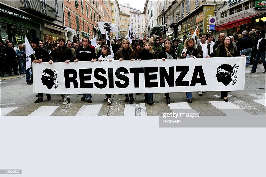 Demonstration For The Call Of All Nationalist Tendencies To Protest Against The Arrests In The Investigation On Attack At Solaro (Haute-Corse), Which Has Cost The Lives To One Of Its Authors, Ange-Marie Tiberi In Bastia, France On January 13, 2007. : News Photo