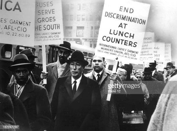 Demonstration for the civil rights, 20th century, United States, New York, Schomburg Center.
