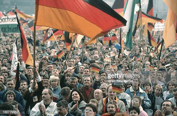 Demonstration for the German reunification Crowds of people with German flags
