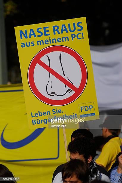 Demonstration gegen Datenvorratsspeicherung in Berlin
