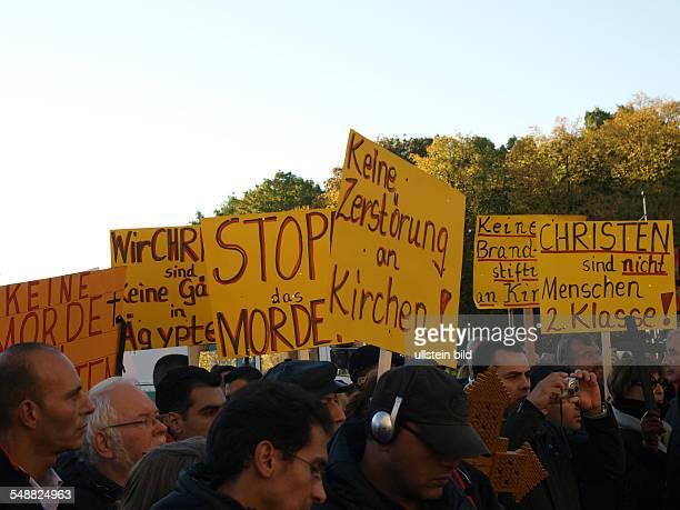 Demonstration gegen Verfolgung koptischer Christen in Aegypten deutsche Kopten demonstrieren gegen Verfolgung ihrer Glaubensbrueder in Berlin