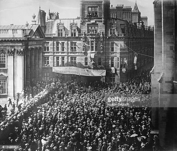 A demonstration held in Cambridge against the admission of women to the university England 1881 | Location Cambridge Cambridgeshire England UK