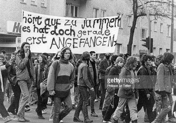 Demonstration in Berlin in memory of the autonomous activist Sigurd Debus dead by hunger strike in prison in Hamburg in 1981 Manifestation a Berlin...