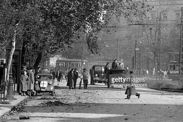 Demonstration in Budapest in Gyor Hungary on October 23 1956