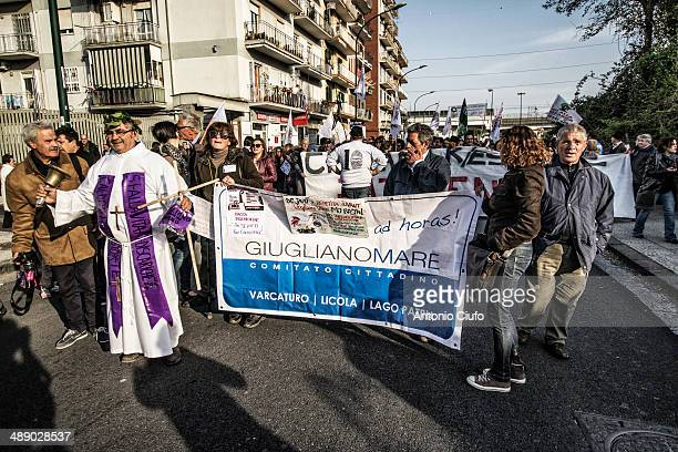 Demonstration in Chiaiano, a suburb of Naples. City's inhabitants are protesting against the will of the government to build a landfill next to the...
