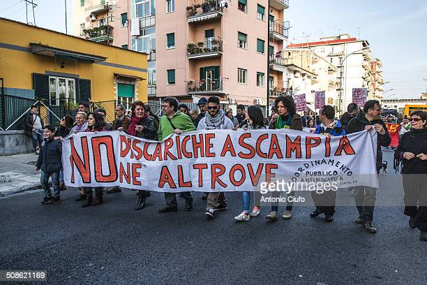 Demonstration in Chiaiano a suburb of Naples People protesting against the will of the government to build a landfill next to the existing one...