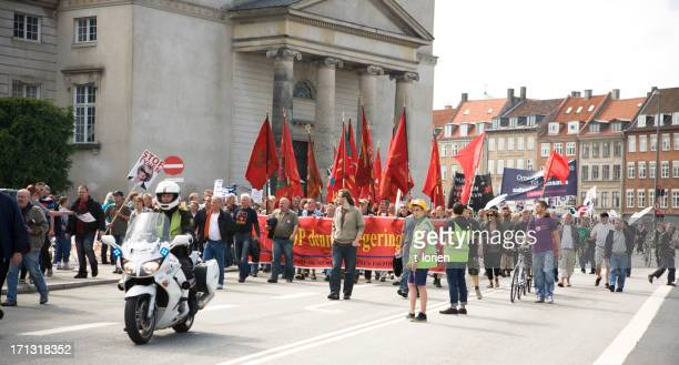 demonstration in copenhagen - striker stock pictures, royalty-free photos & images