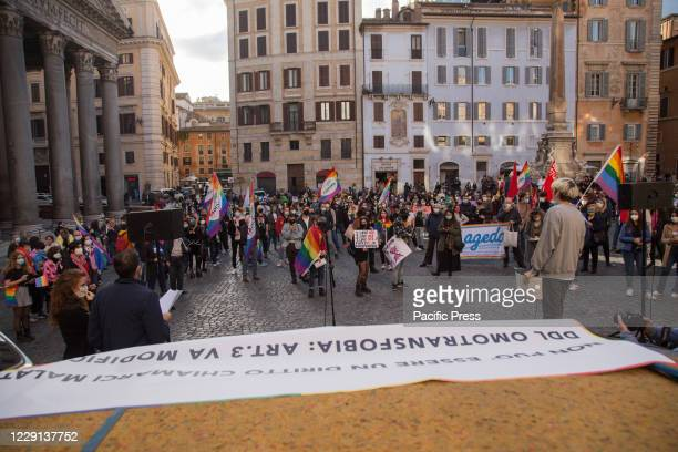 Demonstration in front of the Pantheon in Rome in support of the decree against homotransphobia presented by deputy Alessandro Zan, which will be...