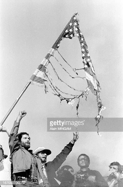 Demonstration in front of the US embassy during the hostage crisis, in which 52 Americans were held hostages during 444 days from November 4, 1979 to...