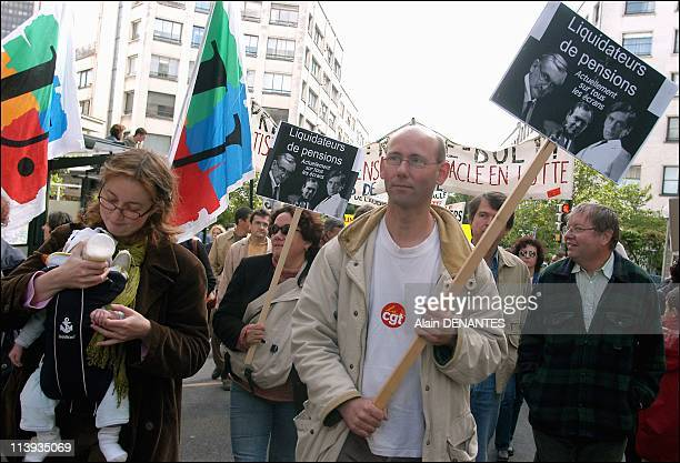 Demonstration in Nantes against the French government's pension reform project In Nantes France On May 13 2003