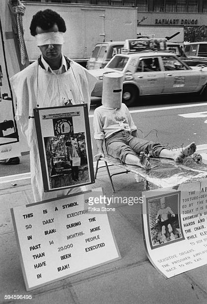 A demonstration in New York City against the human rights abuses in Iran circa 1985 One placard claims that 20000 people have been executed in Iran...