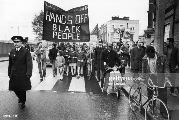 A demonstration in Notting Hill protesting against the repression of black citizens organised by the Black Defence Committee 31st October 1970