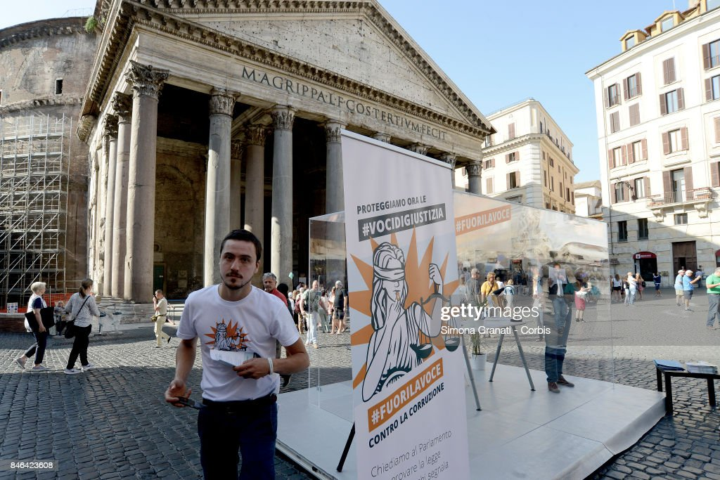 Demonstration in Pantheon Square to solicit approval of a whistleblower law, against corruption, on September 13, 2017 in Rome, Italy.