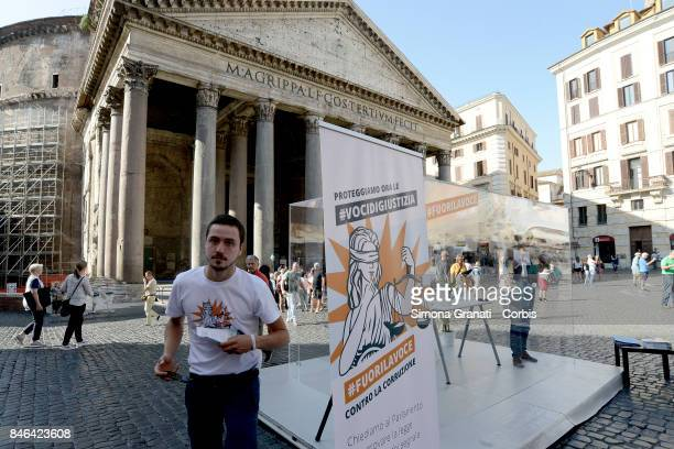 Demonstration in Pantheon Square to solicit approval of a whistleblower law against corruption on September 13 2017 in Rome Italy