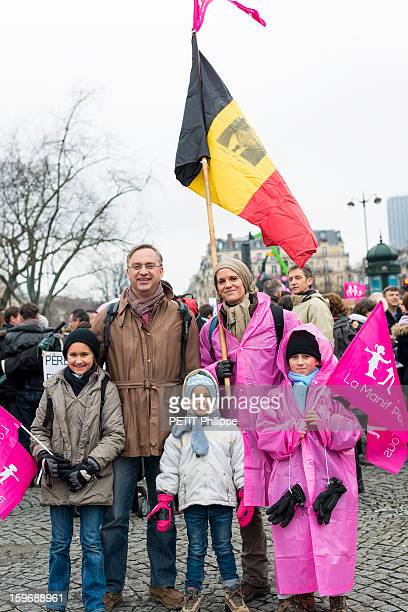 Demonstration in Paris against the bill 'Marriage for All' or homosexual marriage, campaign promise of President Francois Hollande, a Belgian familiy in Paris on January 13, 2013.