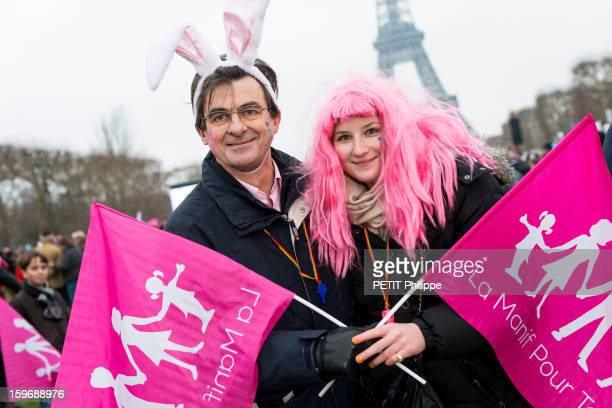 Demonstration in Paris against the bill 'Marriage for All' or homosexual marriage, campaign promise of President Francois Hollande, Students from Lyon at Place du Champs de Mars in Paris on January 13, 2013.