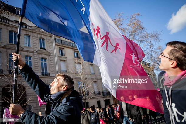 Demonstration in Paris against the homosexual wedding and against the french president M Hollande on February 2 2014