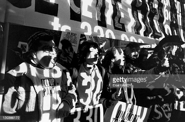 Demonstration in Paris, France on December 01, 1993 - Demonstration of Act Up against AIDS.