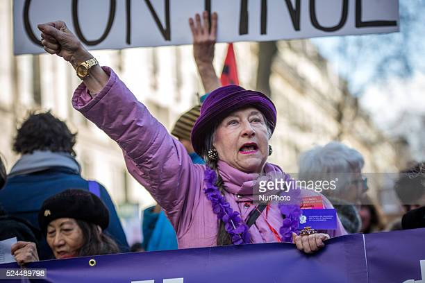 demonstration in Paris on January 17 2015 to defend women's rights to improve access to abortion and to mark the 40th anniversary of the Veil Law...
