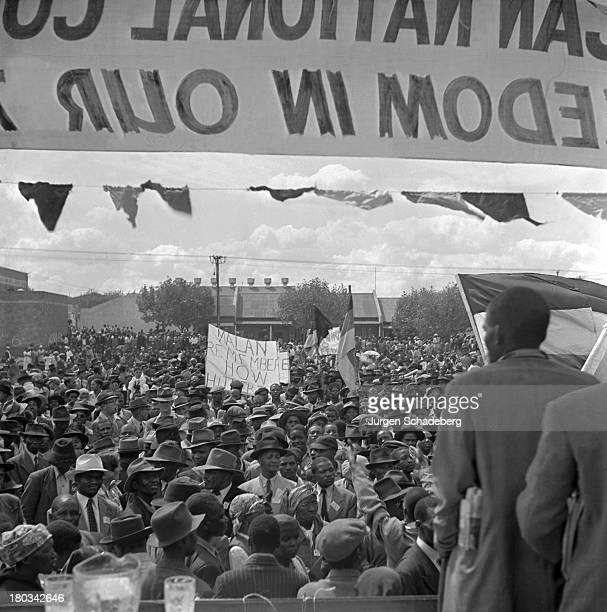 A demonstration in Red Square in the Johannesburg suburb of Fordsburg South Africa 6th April 1952 The demonstration in support of the principles of...