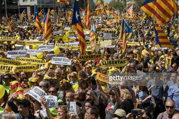 Demonstration in support of Catalan political prisoners celebrated on 15th April 2018 in Barcelona Spain