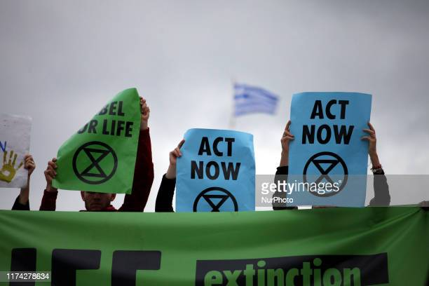 Demonstration in Syntagma Square in Athens city center by Extinction Rebellion group against climate change in Athens, Greece on October 7, 2019....
