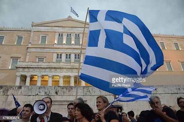 Demonstration in Syntagma square in support of a YES vote in the 5th of July Referandum in Greece in order to decide about the negotiations between...