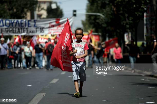 Demonstration marking May Day in Athens Greece on May 1 2018 Trade unions marked May Day with a 24 hour nationwide strike