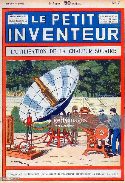 Demonstration of Abel Pifre's solar-powered printing press, in the Jardin des Toileries in Paris, 6th August 1882. It used Augustin Mouchot's solar...