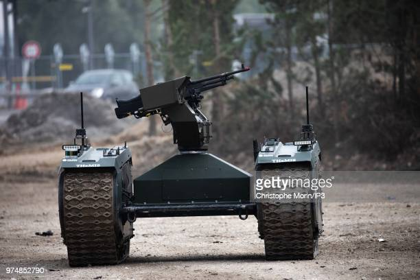 Demonstration of an intervention of an autonomous tank Milrem Robotics THeMIS Adler during dynamic demonstrations with an operational staging at the...