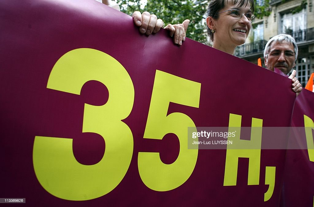 Demonstration of CGT and CFDT for the defense of the 35-hour work week and the retirement pensions in Paris, France on June 17, 2008. : News Photo