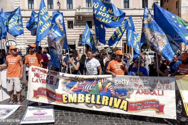 Demonstration of circus workers to the Pantheon to protest against an amendment of the law which foresees the gradual elimination of animals from...