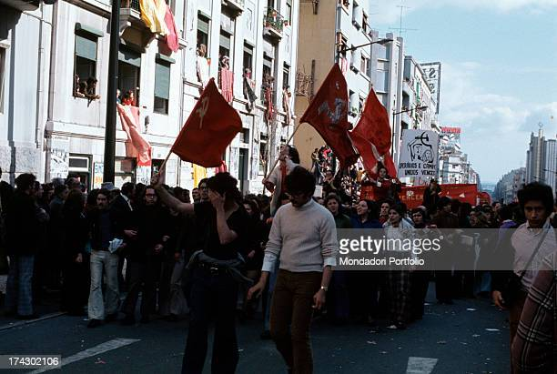 Demonstration of communist workers representing the MRPP the political Maoist party founded in 1970 in Portugal along the streets of the capital city...