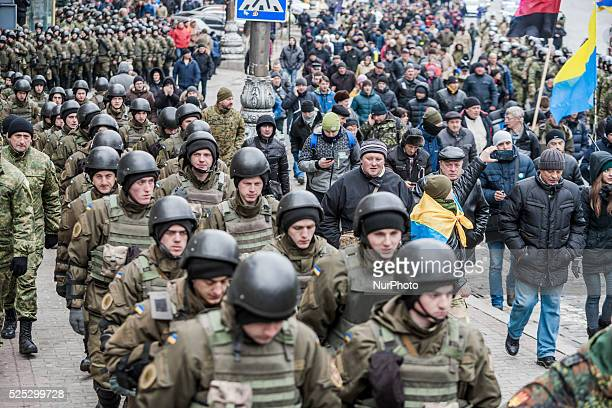 Demonstration of far right extremists in the streets of Kiev on 20th February 2016 during the 2nd anniversary of Euromaidan under stricted security...