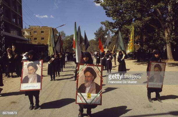 Demonstration of Hezbollah in Baalbek Lebanon on 1985