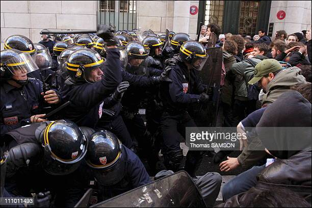Demonstration of high school students against the Fillon law Clashes with riot police in front of the Sorbonne in Paris France on April 07th 2005
