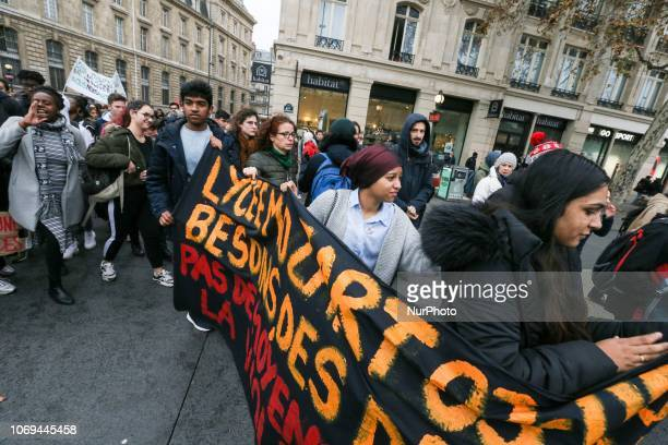 Demonstration of high school students in Paris France on December 7 against educational reforms including university selection pathways and the...